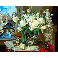 JIAER Dipinto Ad Olio Picture Style Europe By Numbers Dipinto Ad Olio su Tela Home Decor for Living Telaio Opzionale 40X50CM