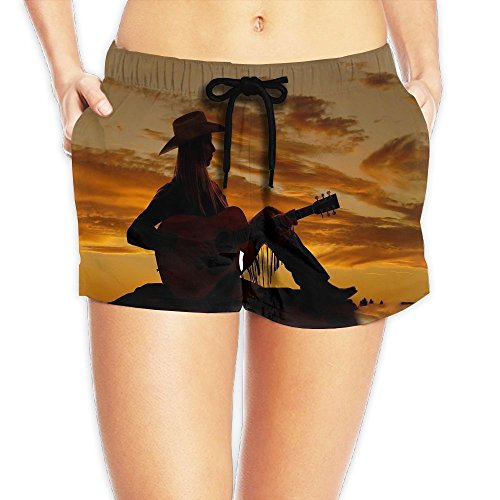 Western Cowgirl Women Beach Shorts 3D Printed Casual Pants Outdoor Hot Boardshort (Cowgirl Costume At Home)