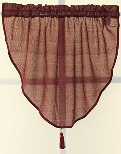 (Starlight Semi-Sheer Privacy Voile Ascot Valance 40Wx25L-Burgundy)