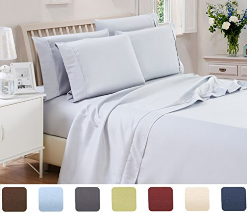 6 Piece Lux Decor Bed Sheets Set ,Hotel Quality Brushed Velvety Microfiber Flat Sheet + Fitted Sheet + 4 Pillow Cases, Wrinkle, Fade & Stain Resistant Breathable, Soft (Full, Light Grey)
