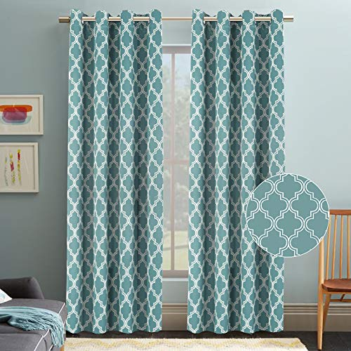 Flamingo P Moroccan Tile Quatrefoil Print Teal Blackout Curtain for Bedroom, Ultimate Soft Textured Grommet Window Treatment Panel for Living Room, 52