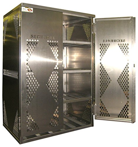 Propane Storage Cage (SECURALL LP12S LP/OG Horizontal Storage Cabinet, FM Approved, Aluminum, 2-Door, 12/20 or 33/43 Lb. Cylinders, 65 x 43 x 32 in, 4 Shelves, SMaRT Certified, OSHA Regulated, 15 Year Warranty)