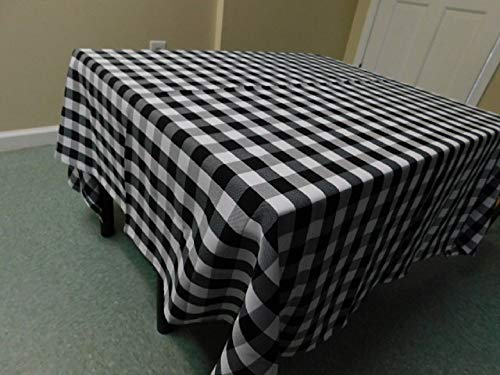 Black and white Tablecloth Plaid, square 58''x 58'' check gingham, table cove camping, Wedding, Restaurant, RV, Party, farmhouse, fabric, perfect for 4 chair table Linens, Events party by Home Touch Decor