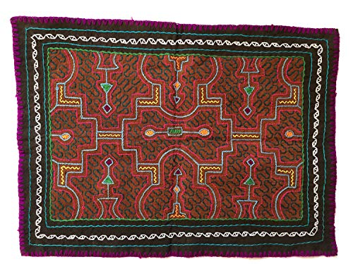 (Vintage Shipibo Indian Art Hand Embroidered Ayahuasca Textile Cloth Tapestry, 17