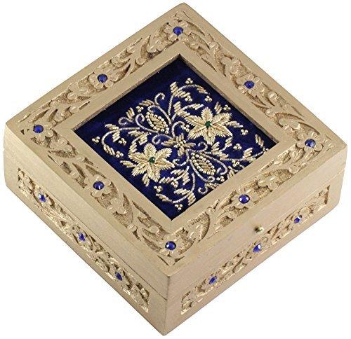 "*Now on Reduced Price* SouvNear 6"" Blue Jewelry Box Zari Decorative Keepsake - Handmade Wood Box"