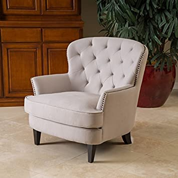 Christopher Knight Home 238660 Melford Royal Vintage Design Beige Upholstered Arm Chair,