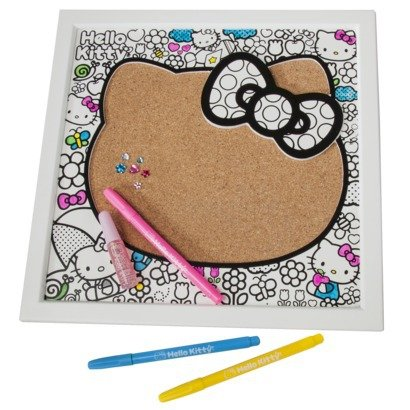 Hello Kitty Doodle Memo Board - White Wood Frame with Corkboard - Wall Mounted - Decorate with Markers, Glitter Glue and Gemstones (Included) Hello Kitty Gems