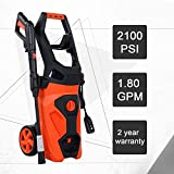 SCYL Color Your Life Electric Power Washer,2100PSI 1.8 GPM 1800W Pressure Cleaner Machine with Spray Gun,Spray Brush,Adjustable Nozzles and Onboard Detergent Tank