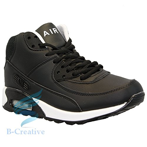 B-Creative MENS RUNNING TRAINERS CASUAL LACE GYM WALKING BOYS SPORTS SHOES LADIES BOYS SIZE Black White Boot 2GORWgXiu