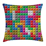Video Games Throw Pillow Cushion Cover, Colorful Retro Gaming Computer Brick Blocks Image Puzzle Digital 90's Play, Decorative Square Accent Pillow Case, Multicolor