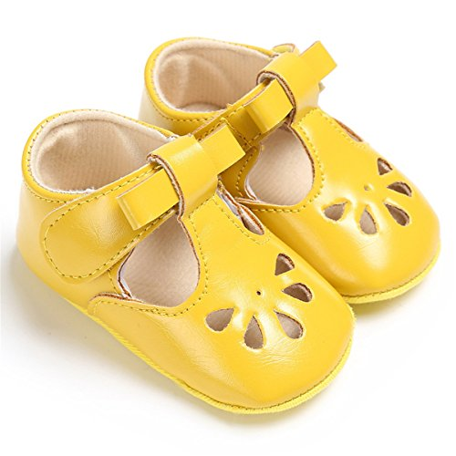BENHERO Baby Girls Mary Jane Flats with Bowknot Non-Slip Toddler First Walkers Princess Dress Shoes (12-18 Months M US Infant, D-Yellow) (Yellow Baby Walker)