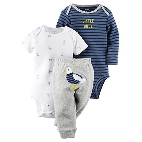 Carter's Baby Boys' 3 Piece Take Me Away Set (Baby) - Birds 6M
