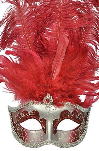 Pure Seasons Colombina Festa Venetian Mask (Burgundy/Silver)-Standard