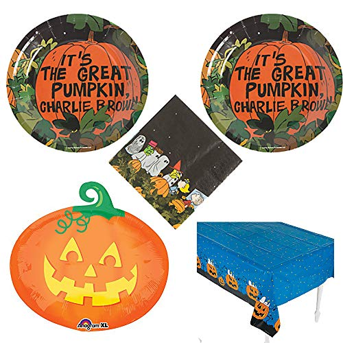 Peanuts Halloween Party Pack for 16 Guests, Cake Plates, Napkins, tablecover -
