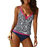 Women's Plus Size Two Piece Swimsuit Tankini Sets hibote V-neck Printing Swimwear S-5XL