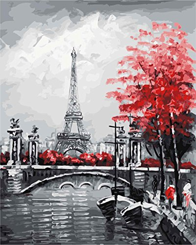 DoMyArt Paint By Number Kits For Adults - Eiffel 16X20 Inch (Red Memory)
