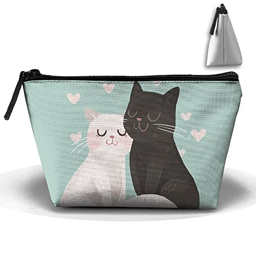 Bing4Bing Oxford Fabric Black And White Cats Love Each Other Trapezoid Receive Bag,Sewing Kit Cartridge Bag Cosmetic Bag Storage Bag - Origami Fortune Cookie