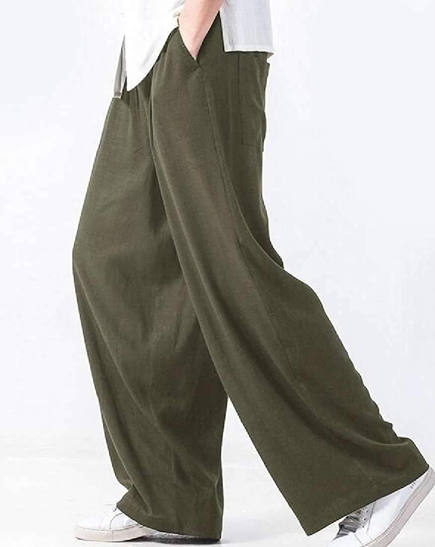 WAWAYA Mens Elastic Waist Baggy Classic Wide Leg Straight Long Pants