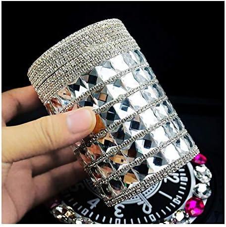 青色LEDインジケータライト、女性カーアクセサリー、車に適して、家庭やオフィスでの車の灰皿のポータブルブリンブリンダイヤモンドタバコ灰皿カップホルダー (Color : Silver)