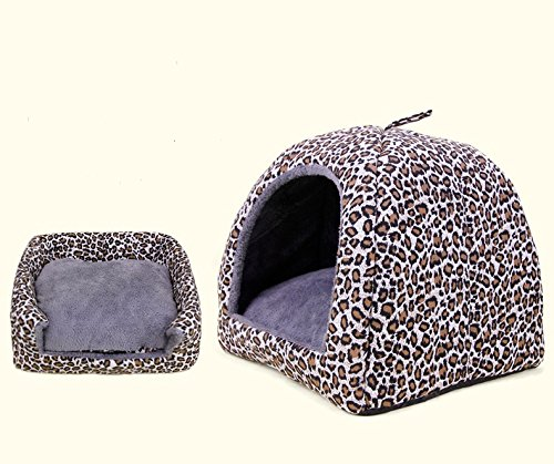 Mongolian Dog Cat Small Animal Pet Canopy Teepee Tent House Bed (Leopard (M))