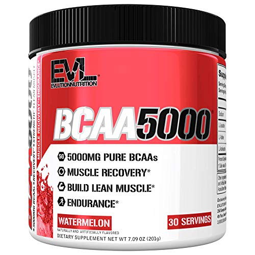 Evlution Nutrition BCAA5000 Powder 5 Grams of Branched Chain Amino Acids (BCAAs) Essential for Performance, Recovery, Endurance, Muscle Building, Keto Friendly, No Sugar (30 Servings, Watermelon)