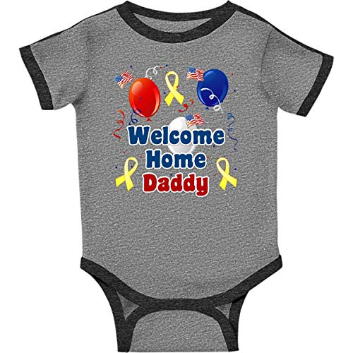 (inktastic Daddy Home Balloons Infant Creeper 6 Months Ringer Heather and Smoke)