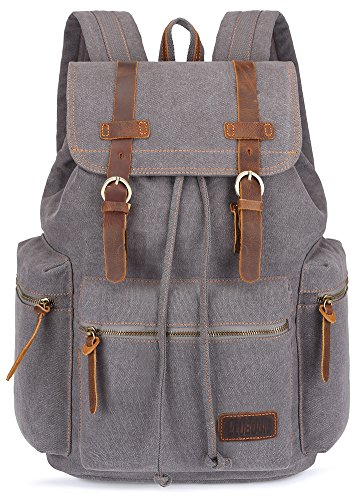 (BLUBOON Canvas Vintage Backpack Leather Trim Casual Bookbag Men Women Laptop Travel Rucksack)