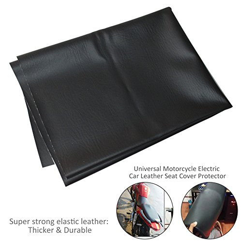 Motorcycle Leather Seat Cover, Wear-Resistant Universal Motorcycle Scooter ATV Leather Seat Cover Protector 90 × 70 cm/35.43 × 27.56 inch - Motorcycle Seat Cover