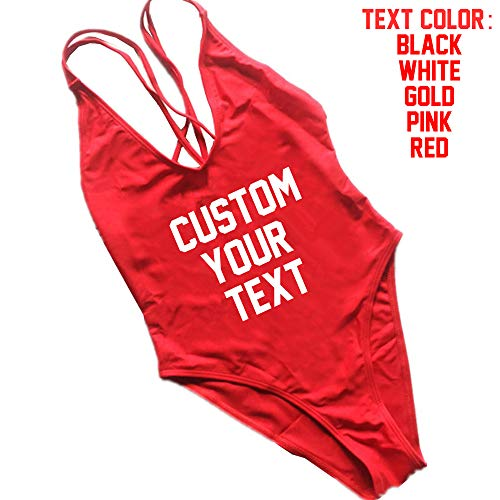 Customized Bodysuit - shifeier Customized Text Letter Personalized Swimwear One Piece Swimsuit Bathing Suit Bodysuit for Bachelor Party Gifts