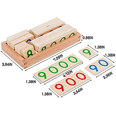 Youwo Wooden Number Cards Preschool Teaching Tool Mathematical Intelligence Gift for Toddlers Age 3+: Toys & Games
