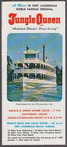 Fort Lauderdale Riverboat Jungle Queen visitor folder ca 1970s - Queen Riverboat
