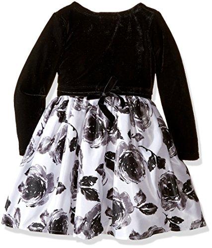 ZUNIE Little Girls' Floral Dress with Velvet Shrug, Black/Ivory, 5