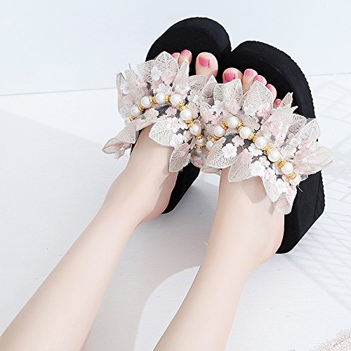 Black Summer KPHY Thirty Hauling Female High five Heel Flower Big Bottom Slippers Pearl Lace 6Cm Thick dnxax1C
