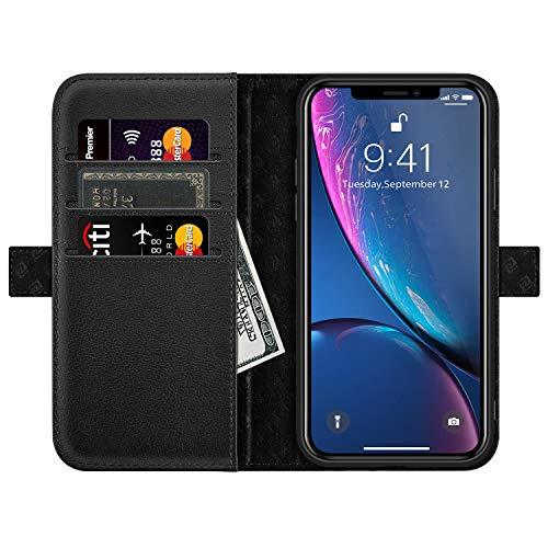 ZOVERR iPhone XR ケース 手帳型 本革なカバー サイドマグネット式 磁気吸着 アイフォンXR ケース 全面保護 スタンド機能 カード収納 耐汚れ 耐衝撃 ギフトボックス(6.1インチ用 ブラック)Black