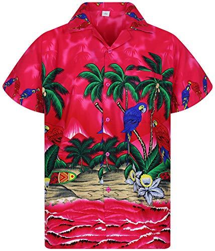 Funky Hawaiian Shirt, Parrot, pink, 3XL