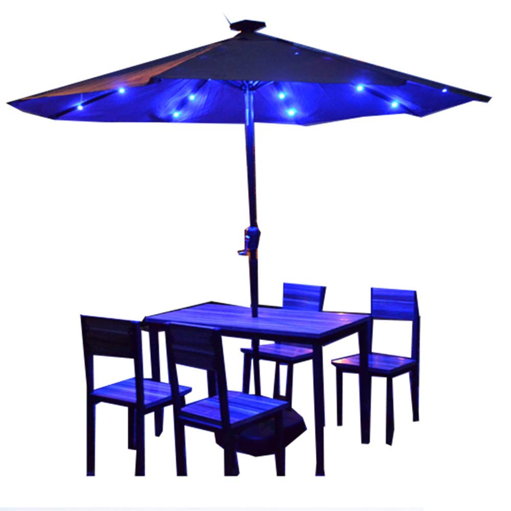 PARASOL WYZQQ Outdoor Table Umbrella,Solar Powered 24 Led Patio Umbrella 8 Rib Crank Market Table Umbrella Garden Suitable for Outside Terrace Table Or Garden Deck, 4 Lights by PARASOL