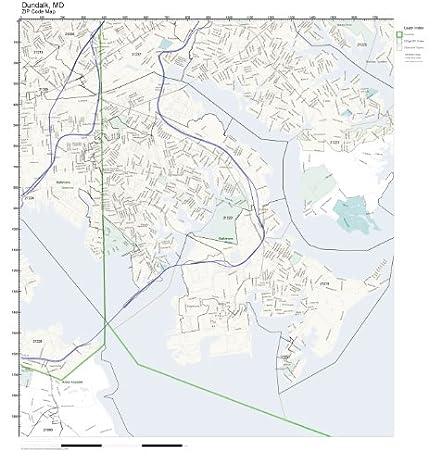 Amazoncom ZIP Code Wall Map of Dundalk MD ZIP Code Map
