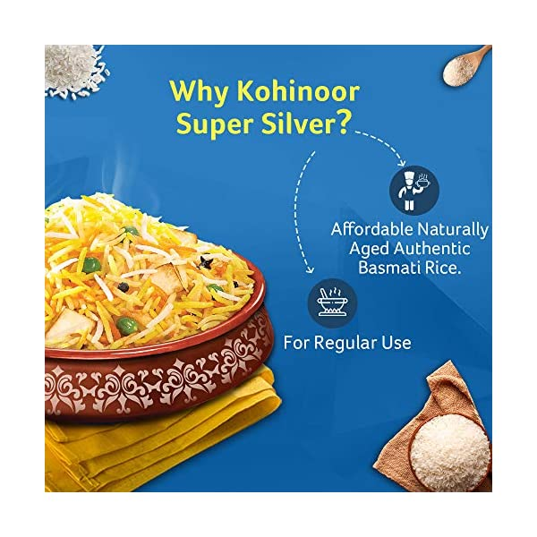 Kohinoor Super Silver Basmati Rice 5 Kg | Premium Basmati Rice 2021 June [Authentic basmati rice]: Naturally curated and nurtured with the utmost care [Aged to perfection]: Naturally aged basmati Aged for 2 years in paddy before packing [Flavourful and aromatic]: Ultimate taste and sweet earthy aroma enhance the rice-eating experience