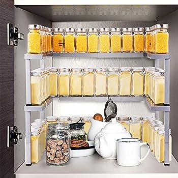 Amazon Com Expandable Spice Rack Organizer For Cabinet