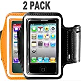 [2pack] Running Armband for iPhone X/8 Plus/8/7 Plus/7/6S Plus/6S/6/5S/SE,180 Rotatable Sports Workout Cell Phone Holder for Samsung Galaxy S8/S7 Edge/S6, Google Pixel/Nexus 6P More (Black+Orange)