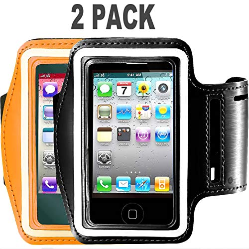- [2pack] Running Armband for iPhone X/8 Plus/8/7 Plus/7/6S Plus/6S/6/5S/SE,180 Rotatable Sports Workout Cell Phone Holder for Samsung Galaxy S8/S7 Edge/S6, Google Pixel/Nexus 6P More (Black+Orange)