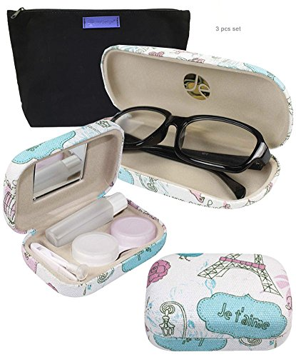 JAVOedge Pink and White Paris Pattern Matching Glass Case + Lens Kit Combo (Includes Free Cleaning Cloth)