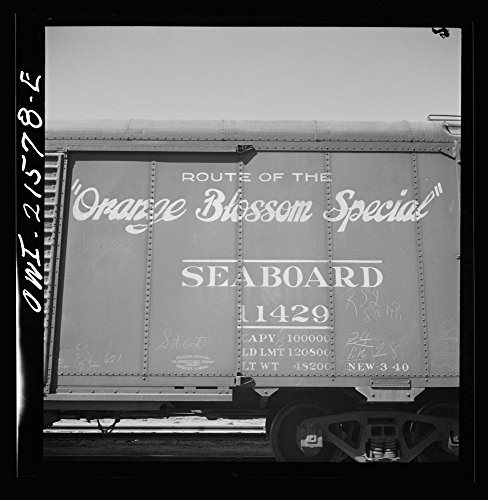 (1943 Photo San Bernardino, California. A sign on a freight car of the Seaboard Airline Railway Location: California, San Bernardino, San Bernardino County)