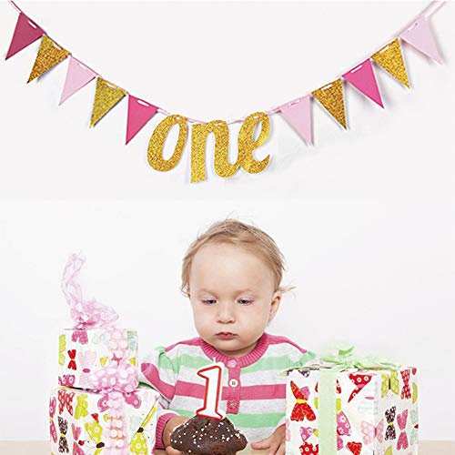 Birthday Decorations, Happy Birthday Banner,Pink and Gold Dot Garland for Kids Girl Baby 1st Birthday Party Decorations(Gold) ()