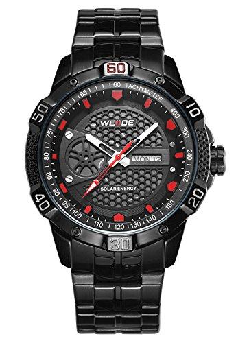Day Quartz Watch Date (Men's Solar Analog Quartz Watch Stainless Steel Calendar Sports Wristwatches (Black))