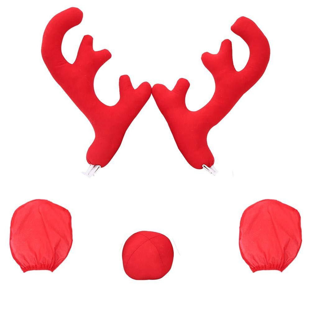 Groß e Fahrzeugkleidung Auto Geweih Dekoration 2 Geweih - 2 Rü ckspiegelabdeckung - 1 rote Nase 5Pcs Auto Weihnachten Rentier Geweih rote Nase Huaqiang