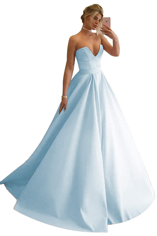 bluee Promworld Women's Strapless Sexy V Neck Prom Dress A Line Evening Gowns Formal Dress Long