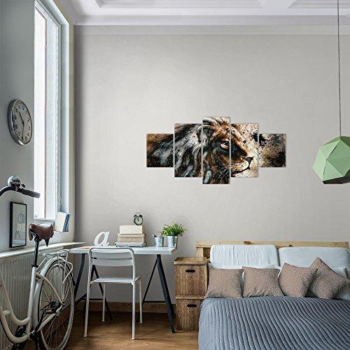 Runa-Art-Bilder-Afrika-Lwe-Wandbild-Vlies-Leinwand-Bild-XXL-Format-Wandbilder-Wohnzimmer-Wohnung-Deko-Kunstdrucke-Braun-5-Teilig-Made-in-Germany-Fertig-Zum-Aufhngen-002252a
