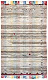 Stone & Beam Contemporary Colorful Fringe Wool Rug, 5′ x 8′, Tan Multi For Sale