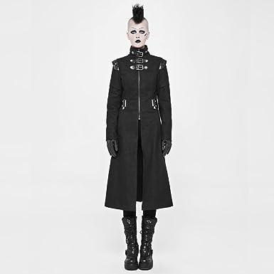 91a678b067de Punk Handsome Military Jacke Für Frauen Gothic Rock Stehkragen Lässig  Winter-Windjacke Lange Jacke